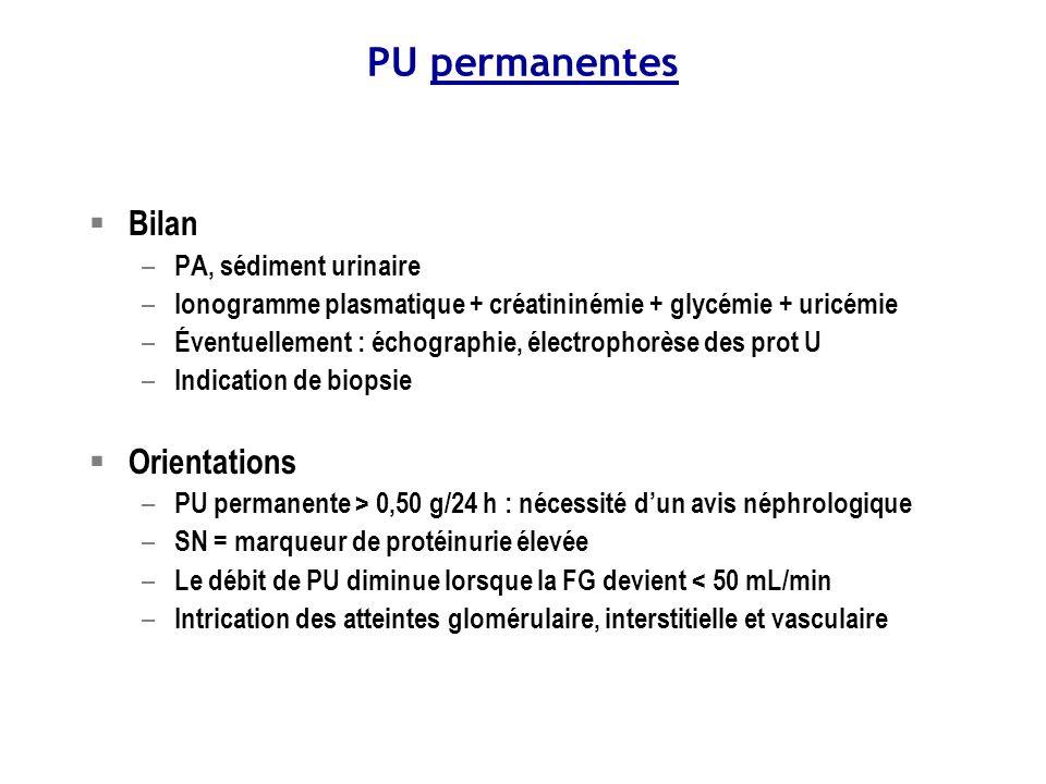 Protéinurie permanente Bilan de débrouillage: EPU, CUQ, CUF, iono, créat, estimation du DFG, échographie rénale Chaînes légèresTubulaire Gammapathie monoclonale Bilan néphropathie tubulo-interstitielle Albumine > 2g/j< 2g/j Toutes les néphropathies Glomérule