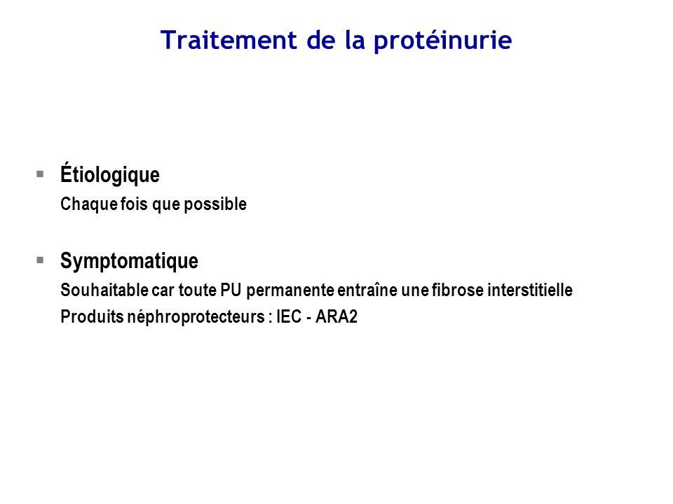Syndrome néphrotique Définition – PU > 3 g/24h – (Albuminémie < 30 g/L) SN pur si – Absence dHU persistante – Absence dHTA permamente – Absence dIR organnique durable – (PU sélective)