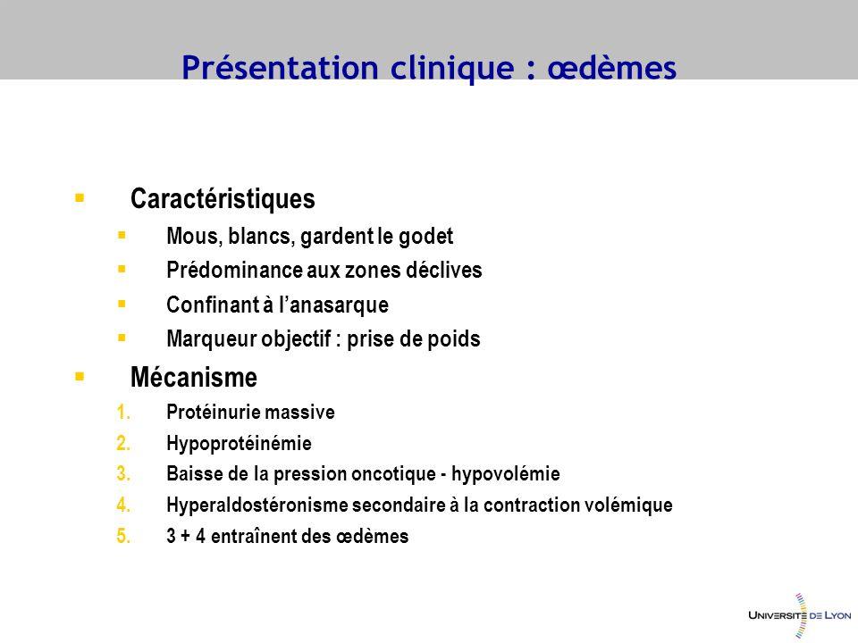 Traitement du syndrome œdémateux Restriction sodée Repos discutable [mobilisation des œdèmes vs.