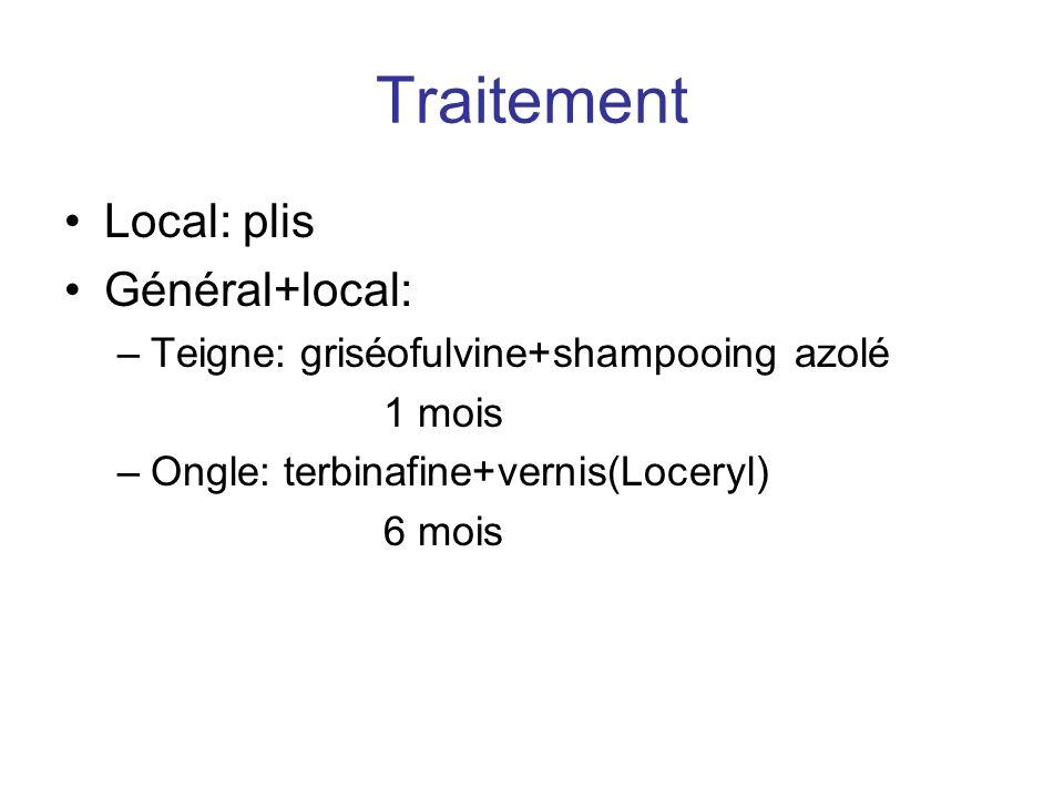 Traitement Local: plis Général+local: –Teigne: griséofulvine+shampooing azolé 1 mois –Ongle: terbinafine+vernis(Loceryl) 6 mois