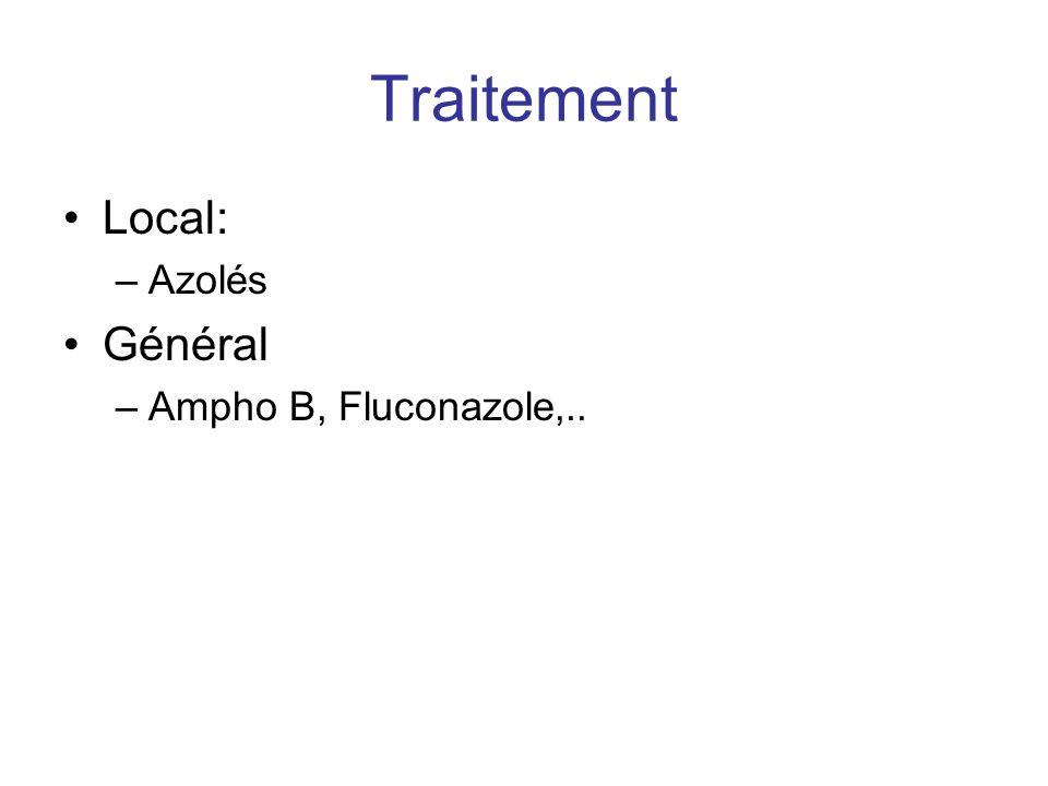 Traitement Local: –Azolés Général –Ampho B, Fluconazole,..
