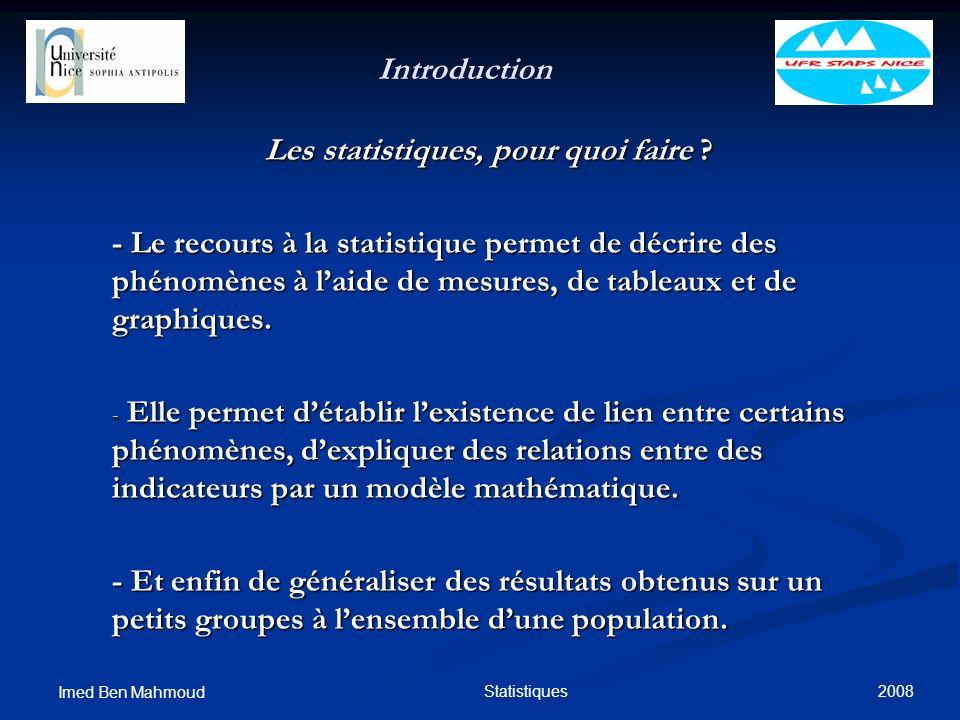 2008 Imed Ben Mahmoud Statistiques Introduction Les statistiques, pour quoi faire ? - Le recours à la statistique permet de décrire des phénomènes à l