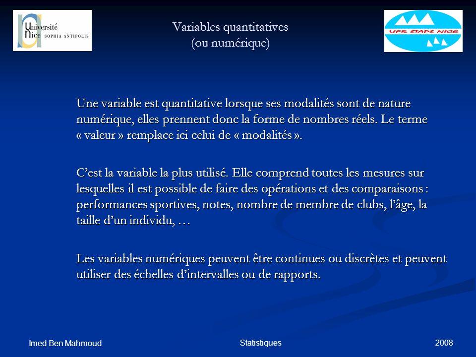 2008 Imed Ben Mahmoud Statistiques Variables quantitatives (ou numérique) Une variable est quantitative lorsque ses modalités sont de nature numérique