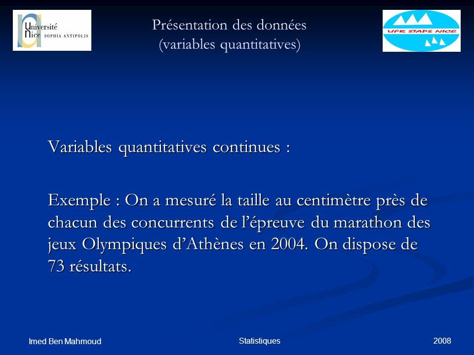 2008 Imed Ben Mahmoud Statistiques Présentation des données (variables quantitatives) Variables quantitatives continues : Exemple : On a mesuré la tai