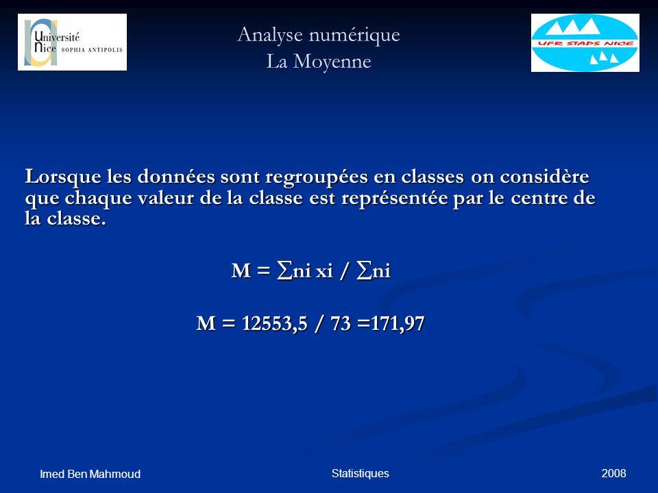 2008 Imed Ben Mahmoud Statistiques Analyse numérique La Moyenne Lorsque les données sont regroupées en classes on considère que chaque valeur de la cl