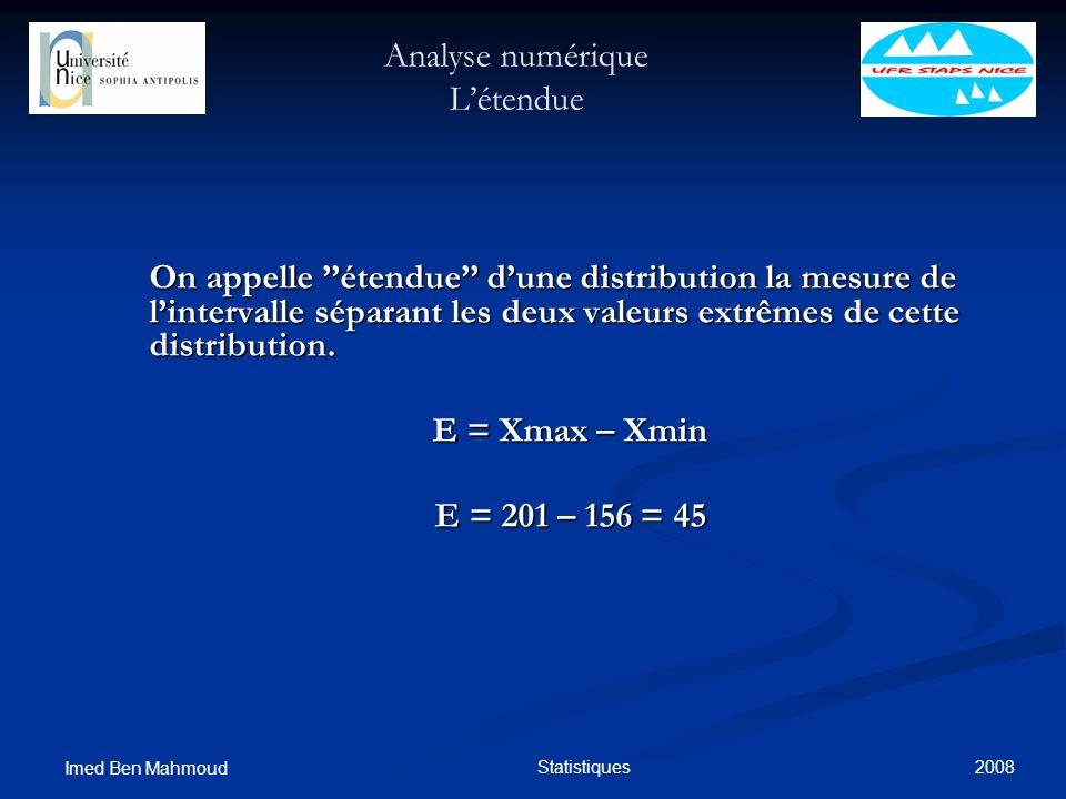 2008 Imed Ben Mahmoud Statistiques Analyse numérique Létendue On appelle étendue dune distribution la mesure de lintervalle séparant les deux valeurs