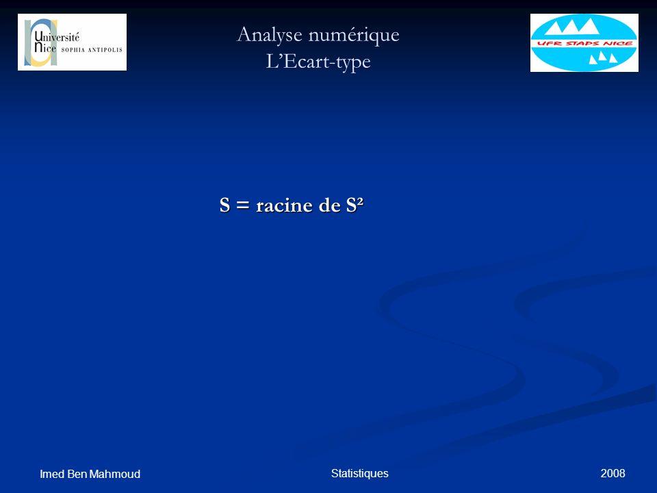 2008 Imed Ben Mahmoud Statistiques Analyse numérique LEcart-type S = racine de S² S = racine de S²