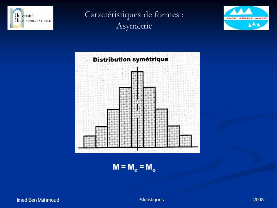 2008 Imed Ben Mahmoud Statistiques Caractéristiques de formes : Asymétrie M = M e = M o