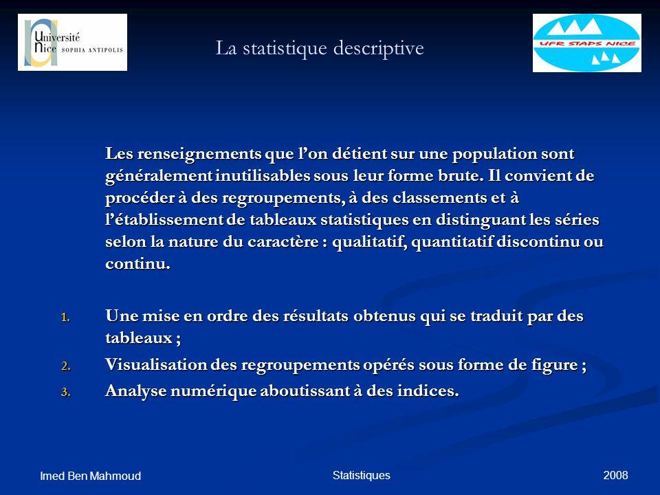 2008 Imed Ben Mahmoud Statistiques La statistique descriptive Les renseignements que lon détient sur une population sont généralement inutilisables so