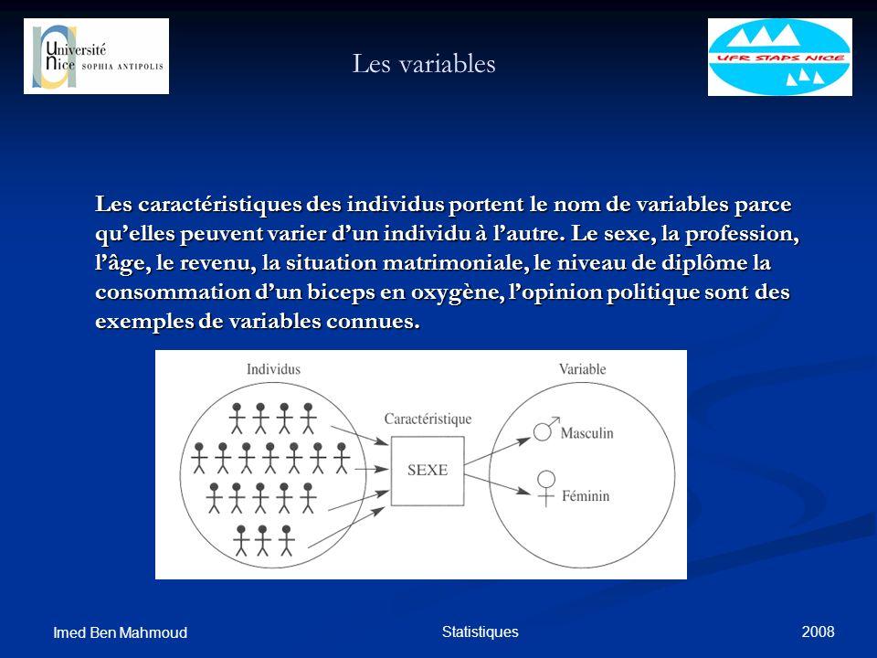 2008 Imed Ben Mahmoud Statistiques Les variables Les caractéristiques des individus portent le nom de variables parce quelles peuvent varier dun indiv