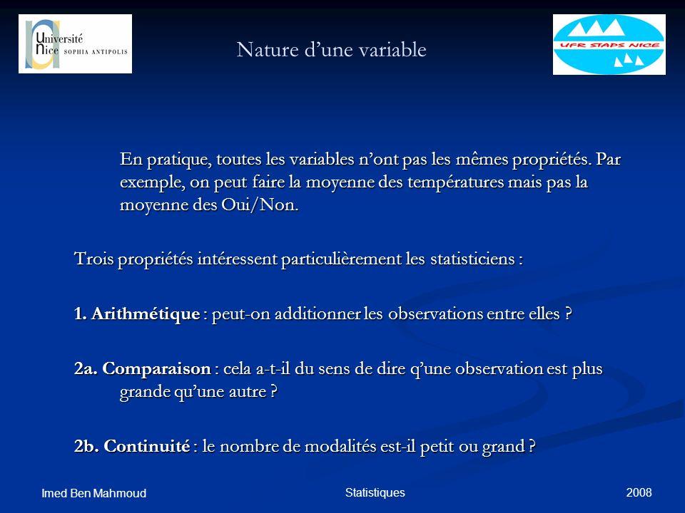 2008 Imed Ben Mahmoud Statistiques Nature dune variable En pratique, toutes les variables nont pas les mêmes propriétés. Par exemple, on peut faire la