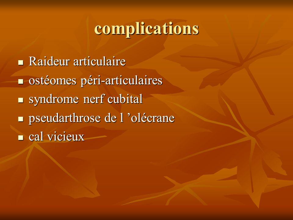 complications Raideur articulaire Raideur articulaire ostéomes péri-articulaires ostéomes péri-articulaires syndrome nerf cubital syndrome nerf cubita