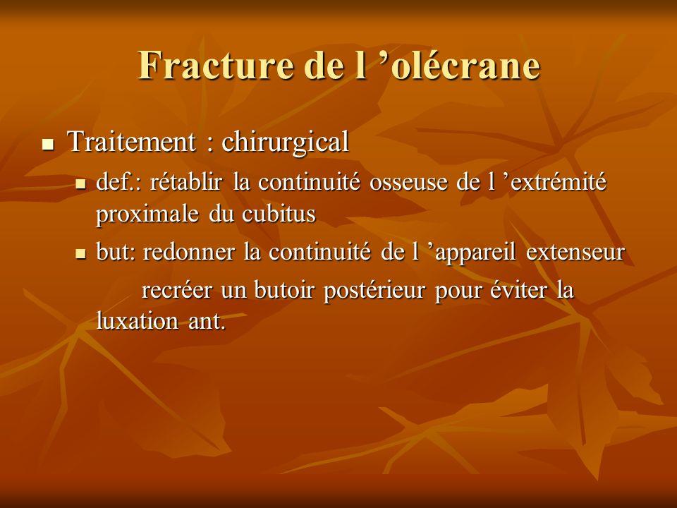 Fracture de l olécrane Traitement : chirurgical Traitement : chirurgical def.: rétablir la continuité osseuse de l extrémité proximale du cubitus def.