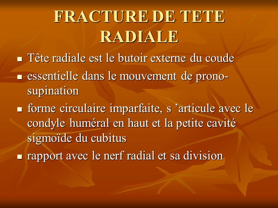 FRACTURE DE TETE RADIALE Tête radiale est le butoir externe du coude Tête radiale est le butoir externe du coude essentielle dans le mouvement de pron