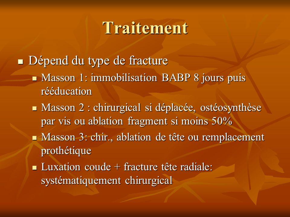 Traitement Dépend du type de fracture Dépend du type de fracture Masson 1: immobilisation BABP 8 jours puis rééducation Masson 1: immobilisation BABP