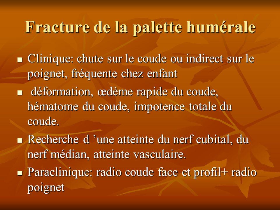 Fracture de la palette humérale Clinique: chute sur le coude ou indirect sur le poignet, fréquente chez enfant Clinique: chute sur le coude ou indirec