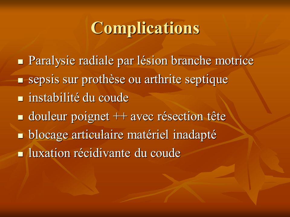 Complications Paralysie radiale par lésion branche motrice Paralysie radiale par lésion branche motrice sepsis sur prothèse ou arthrite septique sepsi