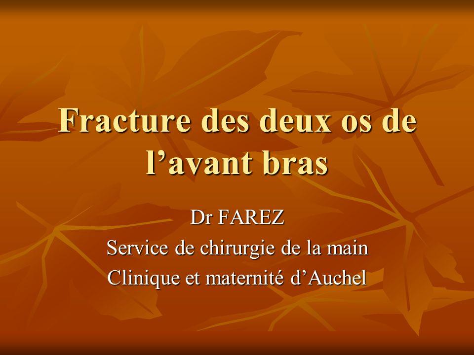 Fracture des deux os de lavant bras Dr FAREZ Service de chirurgie de la main Clinique et maternité dAuchel