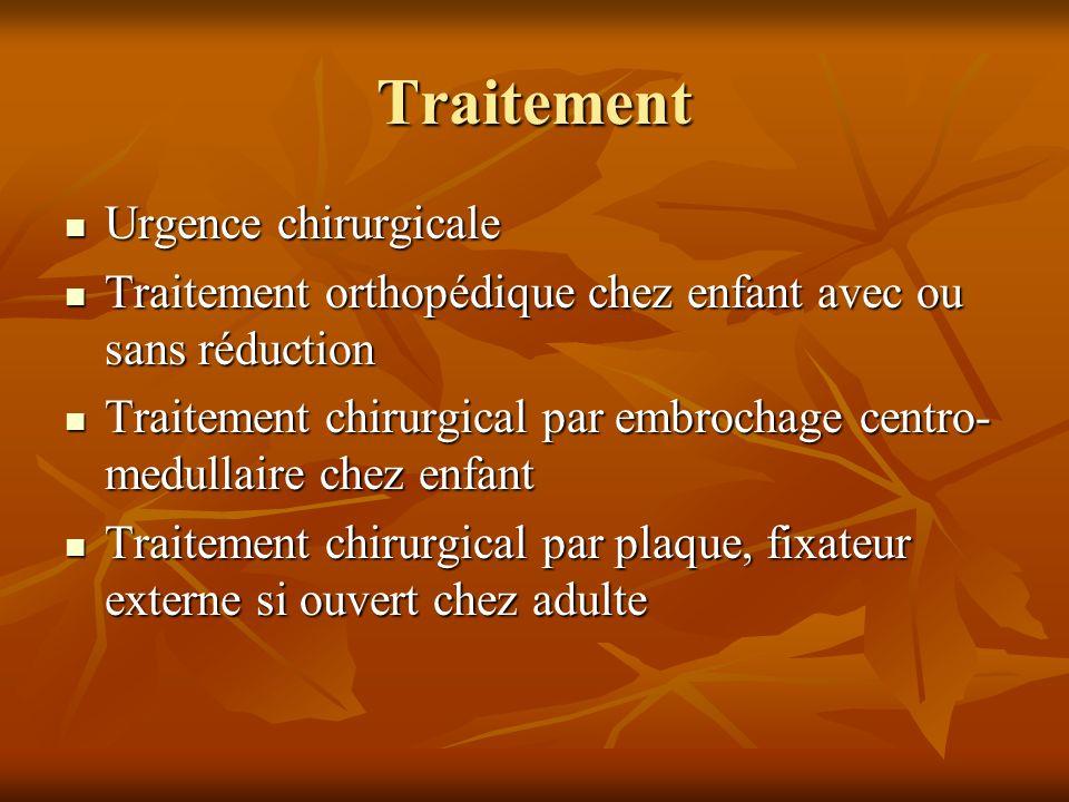 Traitement Urgence chirurgicale Urgence chirurgicale Traitement orthopédique chez enfant avec ou sans réduction Traitement orthopédique chez enfant av