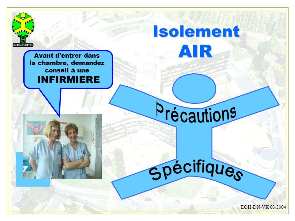DESMONS 200815 IsolementAIR EOH-DN-VK 03/2004 Avant dentrer dans la chambre, demandez conseil à une INFIRMIERE