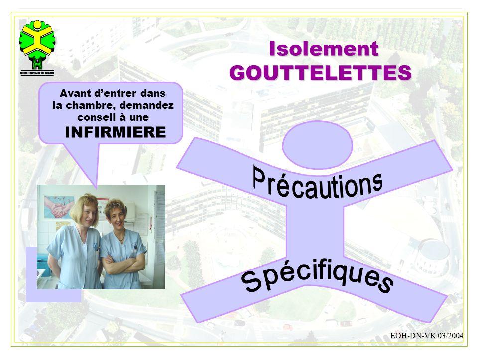 DESMONS 200818 IsolementGOUTTELETTES EOH-DN-VK 03/2004 Avant dentrer dans la chambre, demandez conseil à une INFIRMIERE