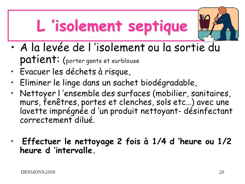 DESMONS 200820 L isolement septique A la levée de l isolement ou la sortie du patient: ( porter gants et surblouse Evacuer les déchets à risque, Elimi
