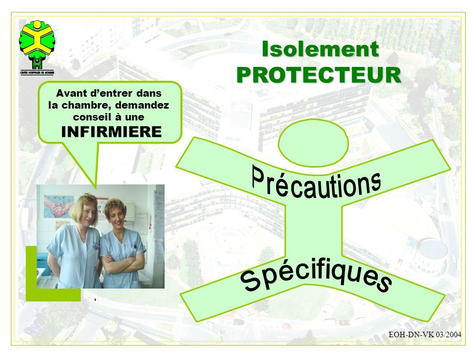 DESMONS 200822 IsolementPROTECTEUR EOH-DN-VK 03/2004 Avant dentrer dans la chambre, demandez conseil à une INFIRMIERE