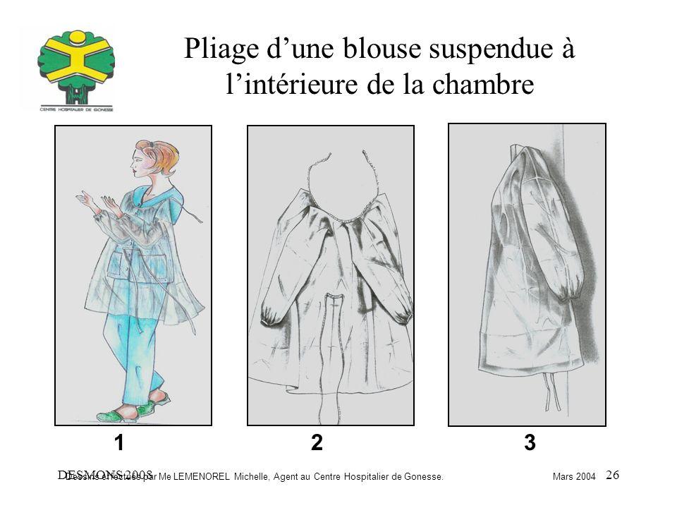 DESMONS 200826 Pliage dune blouse suspendue à lintérieure de la chambre 123 Dessins effectués par Me LEMENOREL Michelle, Agent au Centre Hospitalier d