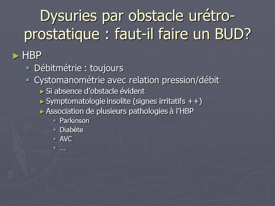 Dysuries par obstacle urétro- prostatique : faut-il faire un BUD.