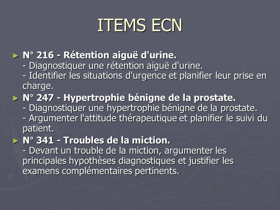 ITEMS ECN N° 216 - Rétention aiguë d urine.- Diagnostiquer une rétention aiguë d urine.