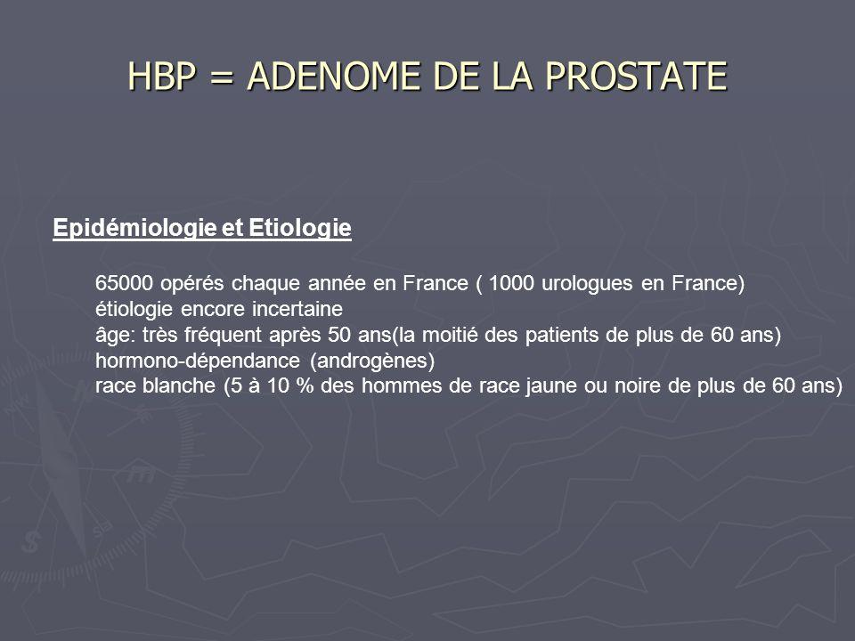 Epidémiologie et Etiologie 65000 opérés chaque année en France ( 1000 urologues en France) étiologie encore incertaine âge: très fréquent après 50 ans(la moitié des patients de plus de 60 ans) hormono-dépendance (androgènes) race blanche (5 à 10 % des hommes de race jaune ou noire de plus de 60 ans) HBP = ADENOME DE LA PROSTATE