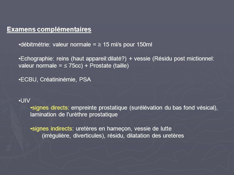 Examens complémentaires débitmétrie: valeur normale = 15 ml/s pour 150ml Echographie: reins (haut appareil:dilaté?) + vessie (Résidu post mictionnel: valeur normale = 75cc) + Prostate (taille) ECBU, Créatininémie, PSA UIV signes directs: empreinte prostatique (surélévation du bas fond vésical), lamination de l urèthre prostatique signes indirects: uretères en hameçon, vessie de lutte (irrégulière, diverticules), résidu, dilatation des uretères