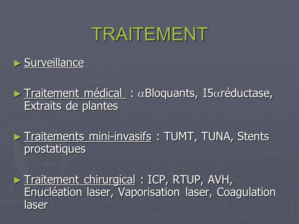 TRAITEMENT Surveillance Surveillance Traitement médical : Bloquants, I5 réductase, Extraits de plantes Traitement médical : Bloquants, I5 réductase, Extraits de plantes Traitements mini-invasifs : TUMT, TUNA, Stents prostatiques Traitements mini-invasifs : TUMT, TUNA, Stents prostatiques Traitement chirurgical : ICP, RTUP, AVH, Enucléation laser, Vaporisation laser, Coagulation laser Traitement chirurgical : ICP, RTUP, AVH, Enucléation laser, Vaporisation laser, Coagulation laser