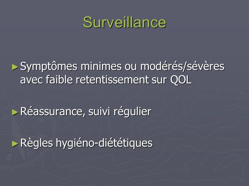Surveillance Symptômes minimes ou modérés/sévères avec faible retentissement sur QOL Symptômes minimes ou modérés/sévères avec faible retentissement sur QOL Réassurance, suivi régulier Réassurance, suivi régulier Règles hygiéno-diététiques Règles hygiéno-diététiques