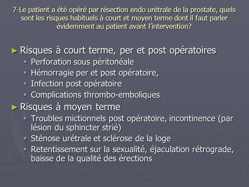 7-Le patient a été opéré par résection endo urétrale de la prostate, quels sont les risques habituels à court et moyen terme dont il faut parler évidemment au patient avant lintervention.