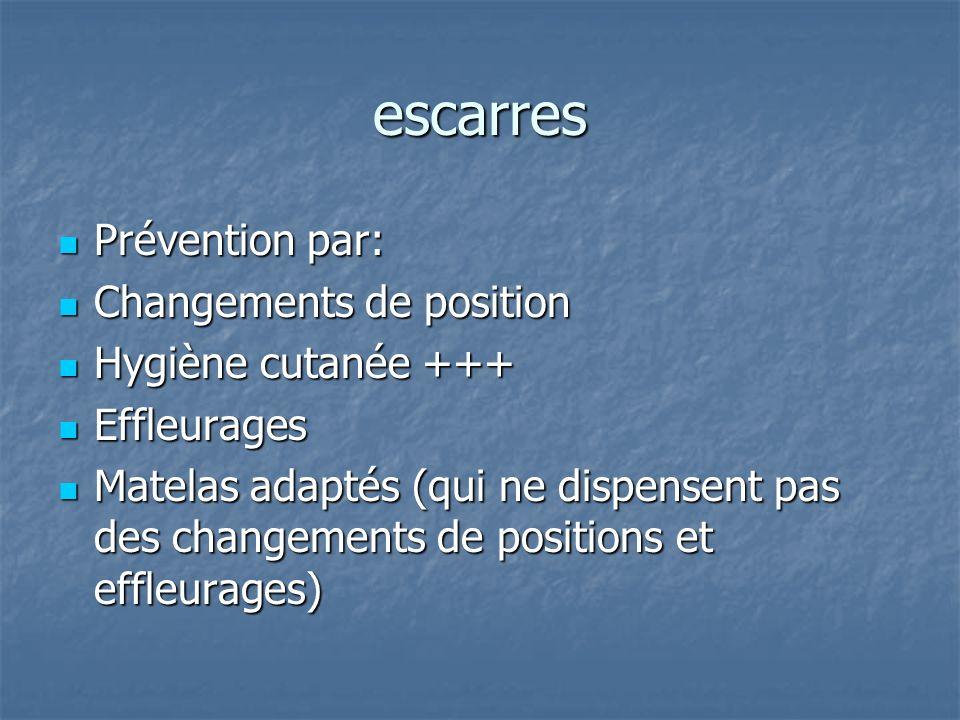 escarres Prévention par: Prévention par: Changements de position Changements de position Hygiène cutanée +++ Hygiène cutanée +++ Effleurages Effleurag