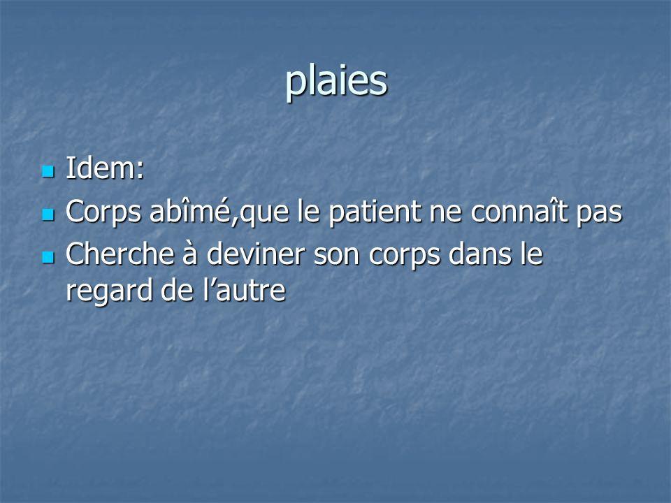 plaies Idem: Idem: Corps abîmé,que le patient ne connaît pas Corps abîmé,que le patient ne connaît pas Cherche à deviner son corps dans le regard de l