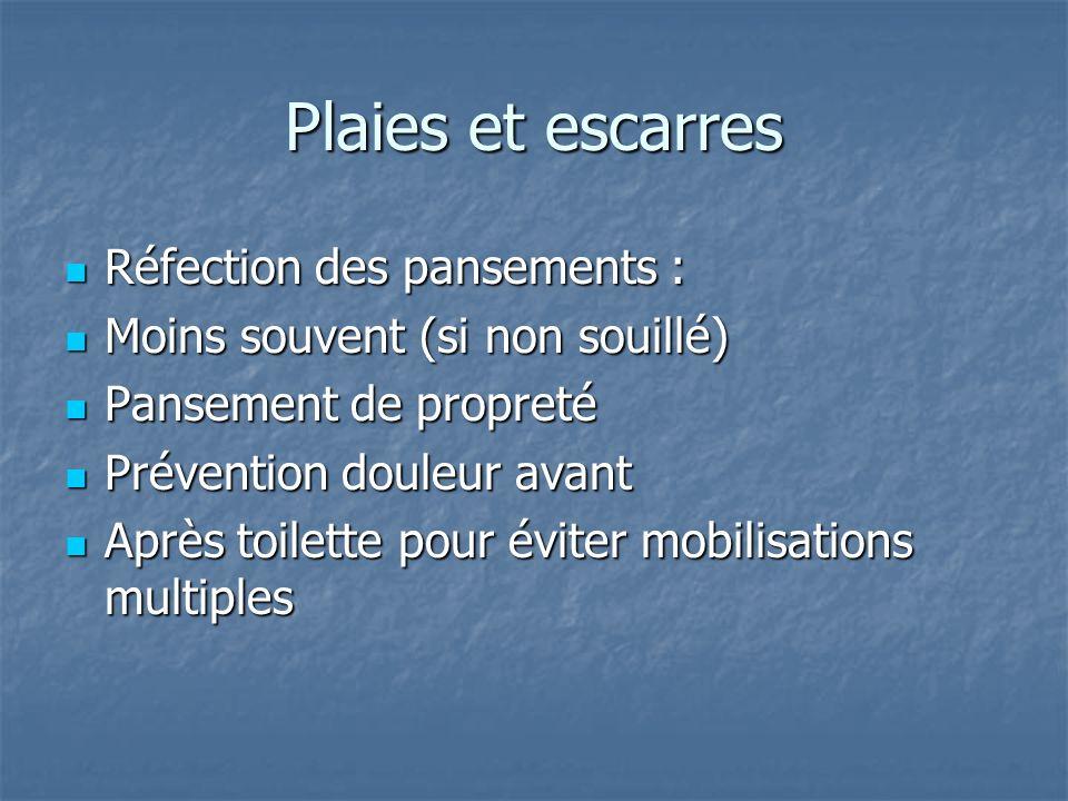 Plaies et escarres Réfection des pansements : Réfection des pansements : Moins souvent (si non souillé) Moins souvent (si non souillé) Pansement de pr