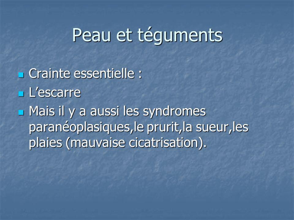 Peau et téguments Crainte essentielle : Crainte essentielle : Lescarre Lescarre Mais il y a aussi les syndromes paranéoplasiques,le prurit,la sueur,le