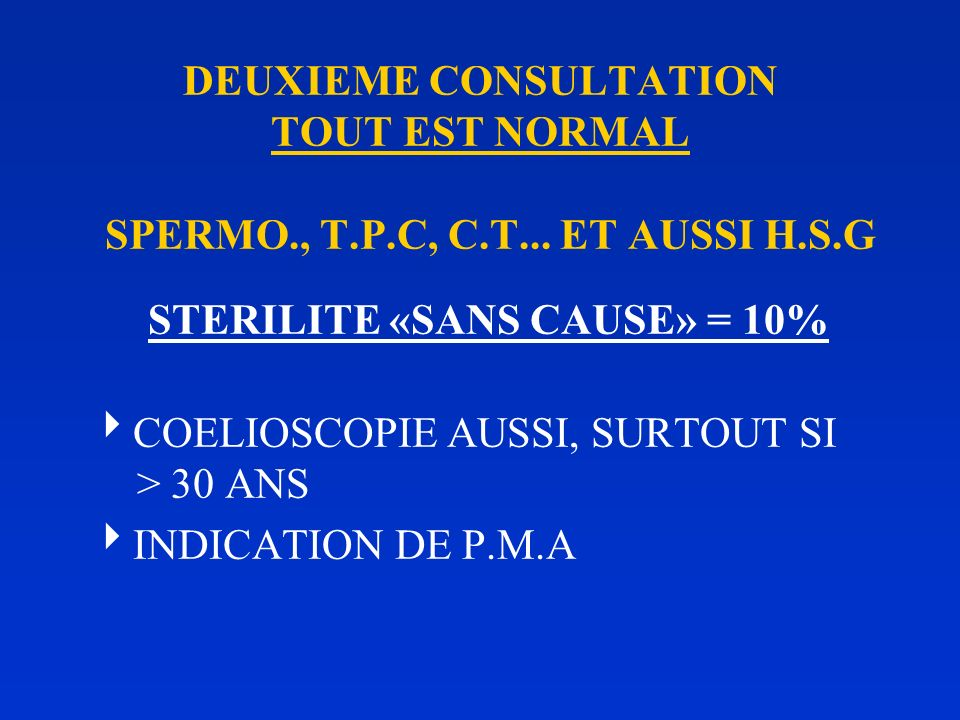 DEUXIEME CONSULTATION TOUT EST NORMAL SPERMO., T.P.C, C.T H.S.G : LESION TUBAIRE NIVEAU : PROXIMAL, MEDIO-TUB. DISTAL TYPE : STENOSE, DILATATION (HYDR