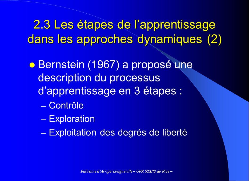 Fabienne dArripe-Longueville – UFR STAPS de Nice – 2.3 Les étapes de lapprentissage dans les approches dynamiques (2) Bernstein (1967) a proposé une description du processus dapprentissage en 3 étapes : – Contrôle – Exploration – Exploitation des degrés de liberté