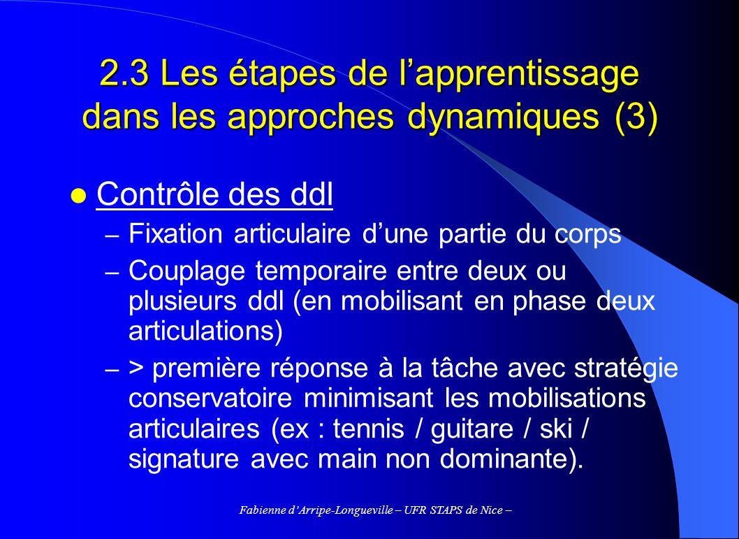 Fabienne dArripe-Longueville – UFR STAPS de Nice – Contrôle des ddl – Fixation articulaire dune partie du corps – Couplage temporaire entre deux ou pl