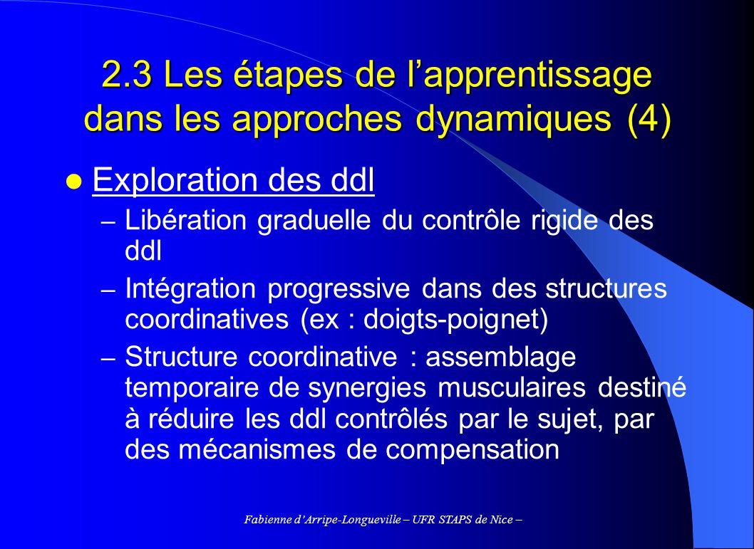 Fabienne dArripe-Longueville – UFR STAPS de Nice – Exploration des ddl – Libération graduelle du contrôle rigide des ddl – Intégration progressive dans des structures coordinatives (ex : doigts-poignet) – Structure coordinative : assemblage temporaire de synergies musculaires destiné à réduire les ddl contrôlés par le sujet, par des mécanismes de compensation 2.3 Les étapes de lapprentissage dans les approches dynamiques (4)