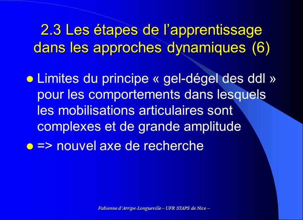 Fabienne dArripe-Longueville – UFR STAPS de Nice – 2.3 Les étapes de lapprentissage dans les approches dynamiques (6) Limites du principe « gel-dégel des ddl » pour les comportements dans lesquels les mobilisations articulaires sont complexes et de grande amplitude => nouvel axe de recherche
