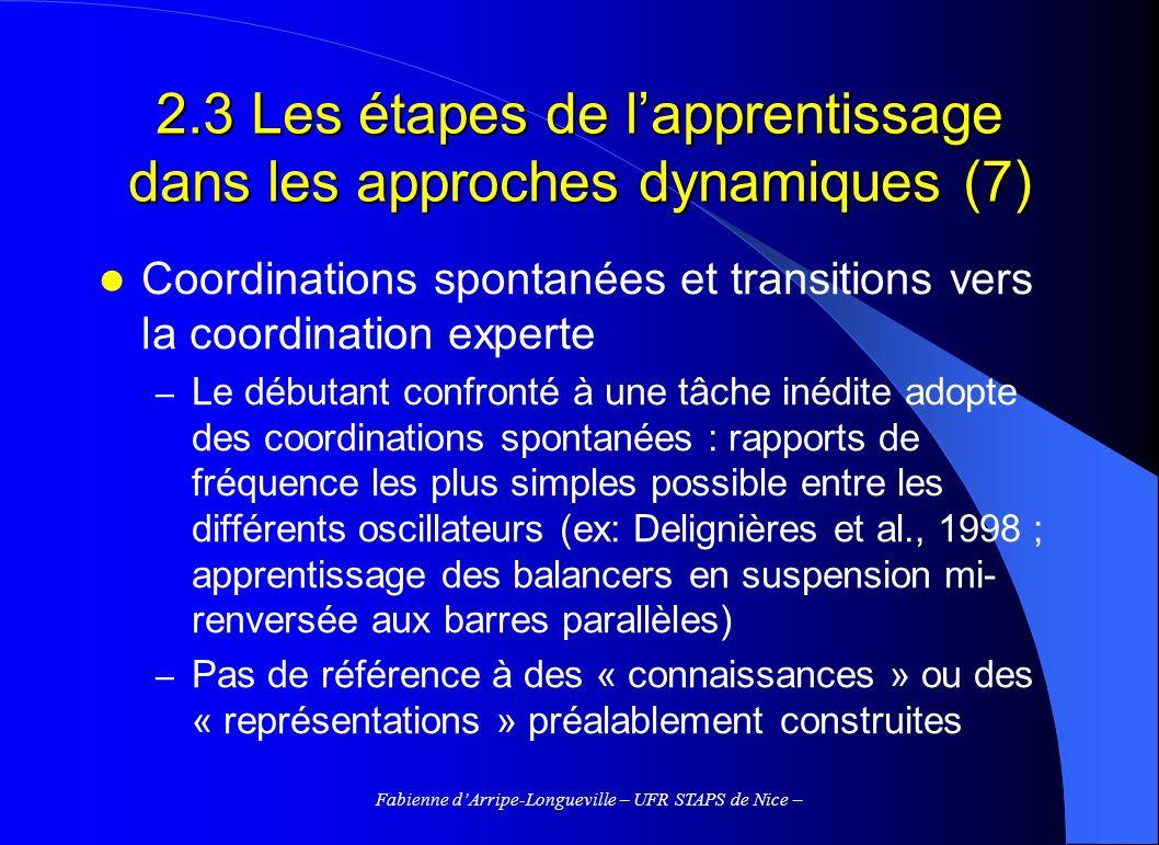 Fabienne dArripe-Longueville – UFR STAPS de Nice – 2.3 Les étapes de lapprentissage dans les approches dynamiques (7) Coordinations spontanées et tran