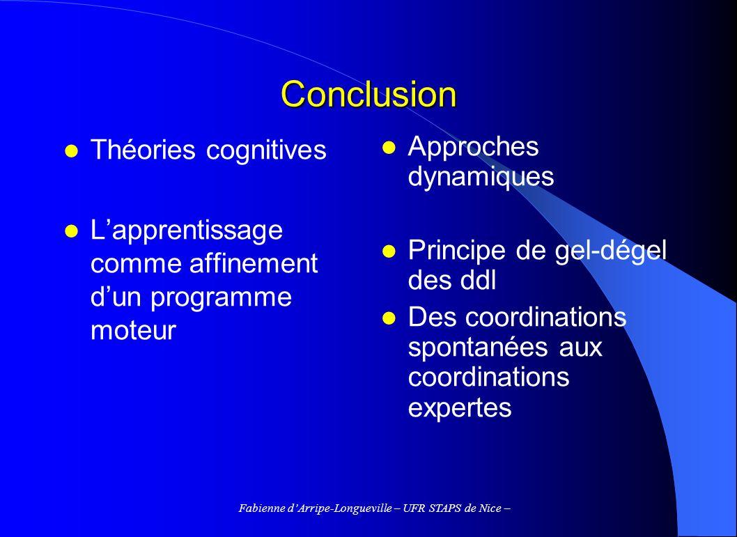 Fabienne dArripe-Longueville – UFR STAPS de Nice – Conclusion Théories cognitives Lapprentissage comme affinement dun programme moteur Approches dynam