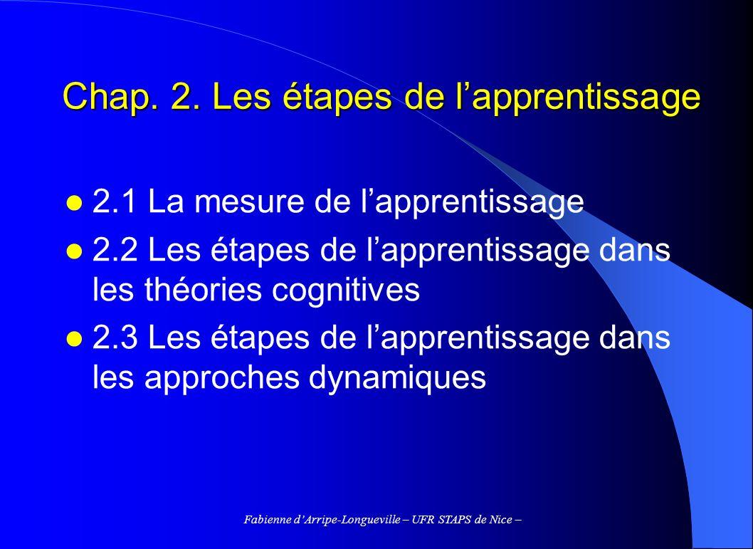 Fabienne dArripe-Longueville – UFR STAPS de Nice – Chap. 2. Les étapes de lapprentissage 2.1 La mesure de lapprentissage 2.2 Les étapes de lapprentiss