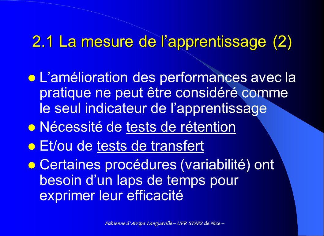 Fabienne dArripe-Longueville – UFR STAPS de Nice – 2.1 La mesure de lapprentissage (2) Lamélioration des performances avec la pratique ne peut être considéré comme le seul indicateur de lapprentissage Nécessité de tests de rétention Et/ou de tests de transfert Certaines procédures (variabilité) ont besoin dun laps de temps pour exprimer leur efficacité
