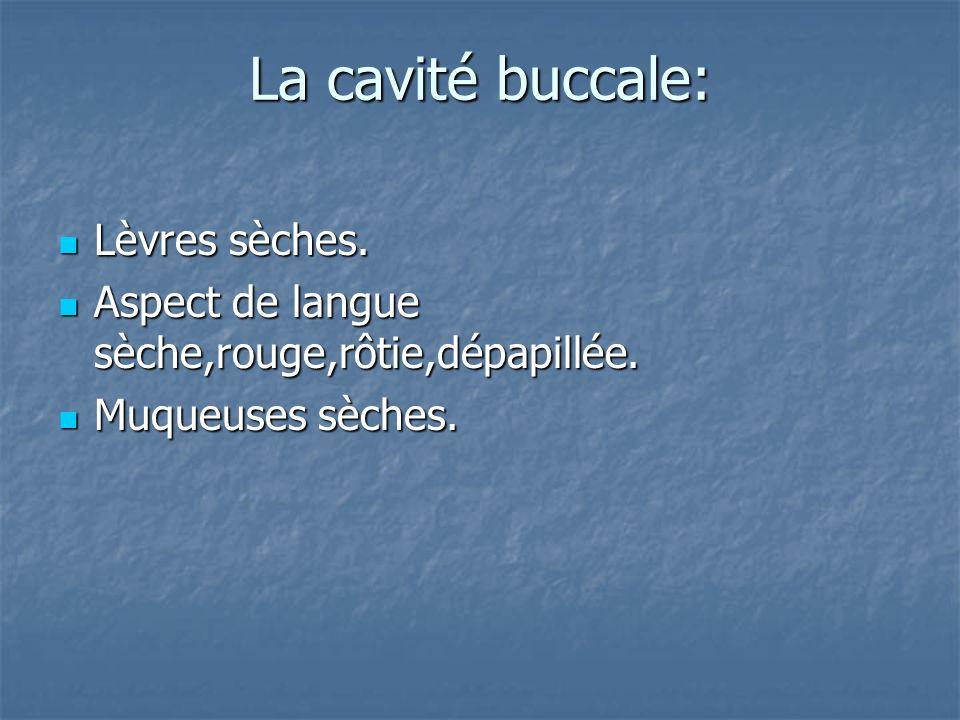 La cavité buccale: Lèvres sèches.Lèvres sèches. Aspect de langue sèche,rouge,rôtie,dépapillée.