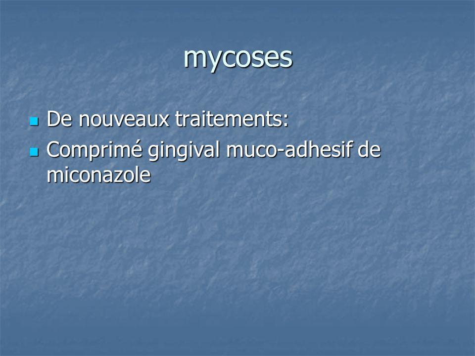 mycoses De nouveaux traitements: De nouveaux traitements: Comprimé gingival muco-adhesif de miconazole Comprimé gingival muco-adhesif de miconazole